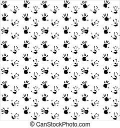 Seamless pattern hand print black