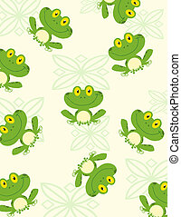 Seamless Pattern Happy Frog Cartoon Character