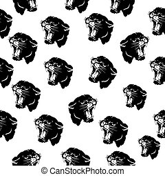Seamless pattern, head of aggressive angry panther, black silhouette on white background