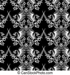 Seamless pattern heraldic gryphon