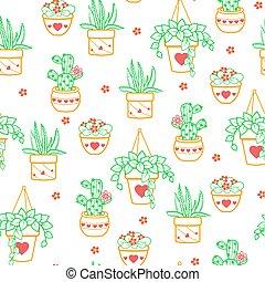 Seamless pattern  houseplant