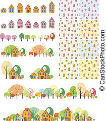 Seamless pattern houses with trees