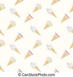 Seamless pattern ice cream cones