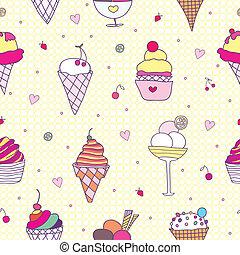 seamless pattern- ice cream.