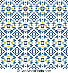 Seamless pattern illustration in blue and yellow - like Portuguese tiles