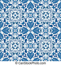 Portuguese tiles - Seamless pattern illustration in blue -...