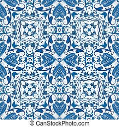 Seamless pattern illustration in blue - like Portuguese tiles