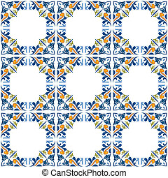 Seamless pattern illustration in blue, yellow and orange - like Portuguese tiles