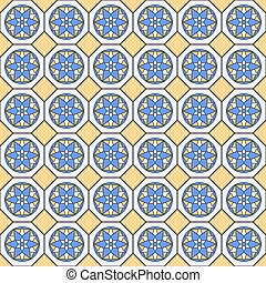 Seamless pattern in blue and yellow colors.