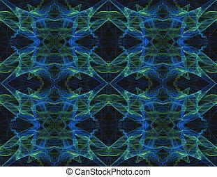 Seamless Pattern in Blue Green Blk