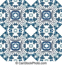 Portuguese tiles - Seamless pattern in blue - like...