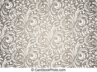 Seamless pattern in brown color. Floral illustration
