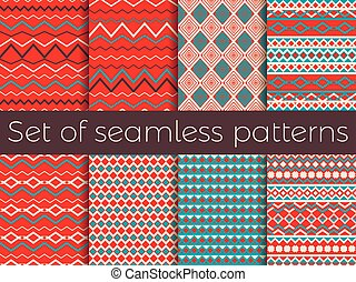 Seamless pattern in ethnic style. Tribal seamless texture, style hippie. Retro colors. Boho stripes. Vector illustration