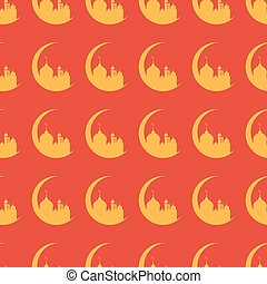 Seamless pattern in islamic style. Half moon and a mosque. Ramadan background. Vector background