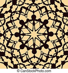 Seamless pattern in oriental style made of blobs. Brown ornamental background with mandala element. Islamic, Arabic, Asian motif