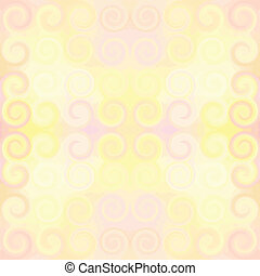 Seamless pattern in pastel colors with symmetric swirl elements