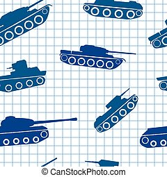 Seamless pattern ink silhouettes of tanks