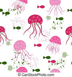 Seamless pattern: isolated pink jellyfish and fish on a white background.