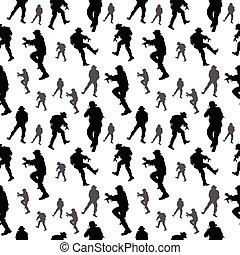 seamless, pattern., katona, silhouette., hadi, emberek, vektor, ábra