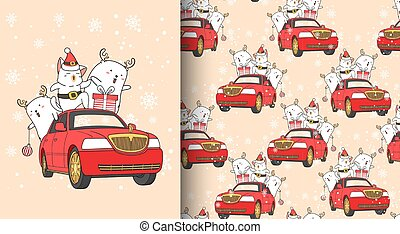 Seamless pattern kawaii Santa cat and friend with a car