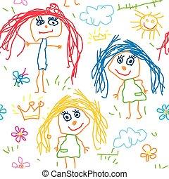 Seamless pattern kids drawing