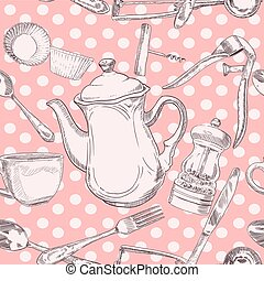 Seamless pattern kitchen utensils