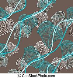 (seamless, pattern), leaves., イラスト, ベクトル, 流行