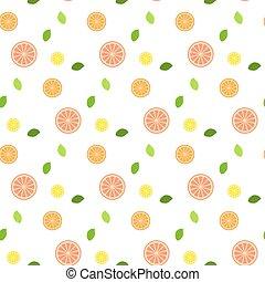 seamless., pattern., leaves., fruit, fris, munt