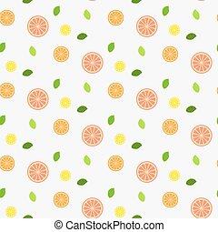 seamless., pattern., leaves., frutta, fresco, menta