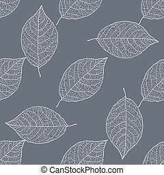 seamless pattern - leaves on the a gray background