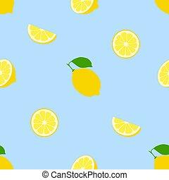 Seamless pattern lemon fruit on a blue background