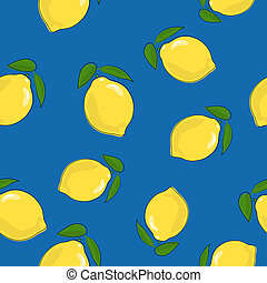 Seamless Pattern ,Lemon on Blue Background
