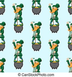 Seamless pattern leprechaun dwarf fairy tale character for St. Patrick's day on a light blue background. Vector image