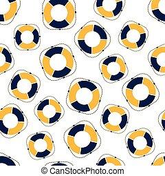 seamless pattern lifebuoy on white background, vector illustration