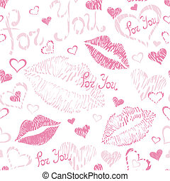 Seamless pattern, lipstick kisses