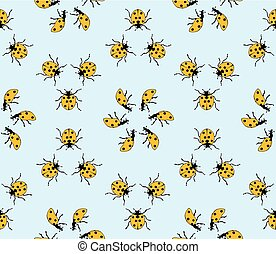 seamless pattern made from ladybugs on blue background