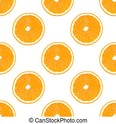 Seamless pattern made from orange fruit slice isolated on white background.