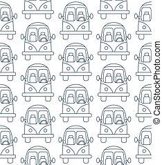Seamless pattern made of cartoon small city cars