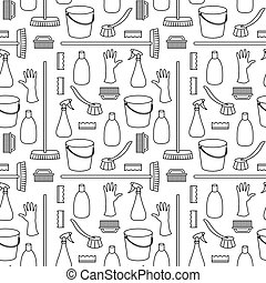 Seamless pattern made of household cleaning objects