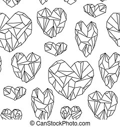 Seamless pattern made of mineral heart-shaped crystals on white background