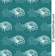 seamless pattern made of Nautilus Pompilius