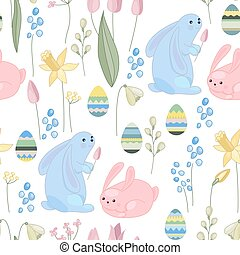 Seamless pattern made of rabbits,eggs and plants. Endless...