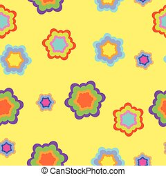 Seamless pattern, magic flowers on yellow background