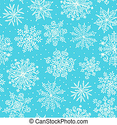 seamless, pattern., main, dessiné, snowflakes.