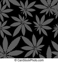 Seamless pattern - Marijuana cannabis. Vector.