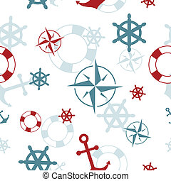 Seamless pattern: maritime symbols - anchor, life buoy, the wind rose, the steering wheel