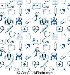 Seamless pattern-medical items