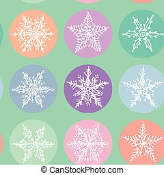 Seamless pattern Merry Christmas Card, Snowflake winter set orange pink purple blue collection on polka dot blue mint background. Vector