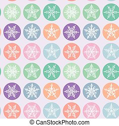 Seamless pattern Merry Christmas Card, Snowflake winter set orange pink purple blue collection on polka dot lilac background. Vector