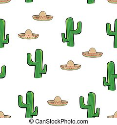 seamless pattern Mexican sombrero hat and cactus on white background wallpaper textile vector giftwrap